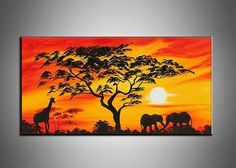 Canvas Oil Paintings Sunset African Painting | 157S - HYGGE ARTWORKS