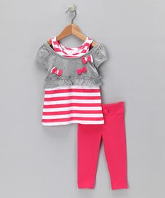 Look what I found on #zulily! Pink Stripe Layered Tunic & Leggings - Toddler #zulilyfinds
