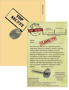 Spy FBI Secret Mission Military Detective Party Invitations - good wording: