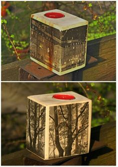 Tea light candle holders made of upcycled europalette.