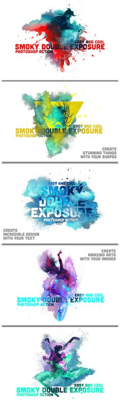 Smoky Double Exposure — Layered PSD #powder #textures • Available here → https://graphicriver.net/item/smoky-double-exposure/13346220?ref=pxcr