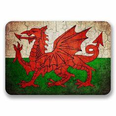 2 x Distressed Wales Welsh Dragon Flag Vinyl Sticker #9739