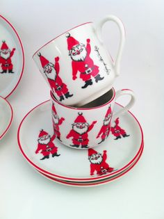 Santa Demitasse Cup Saucer Set of 4 Georges Briard by Comforte, $38.00