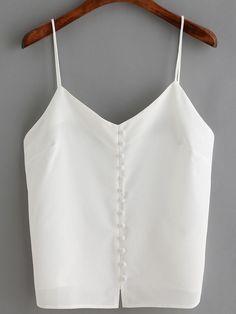 Top à bretelle avec boutons -blanc -French SheIn(Sheinside)