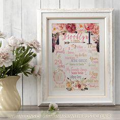 Tribal Birthday Poster - Baby Girl Birthday - Wild One First Birthday - 1st birthday - Arrow Feather Rustic Rose Quartz Farmhouse Floral- Di