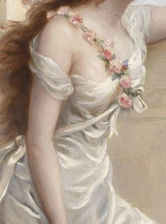A Young Beauty with a Wreath of Roses (detail) by Edouard Bisson. Oil on canvas, c. 20th century.