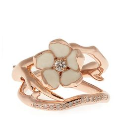 Shaun Leane Diamond & rose gold-plated set of two rings ($1,055) ❤ liked on Polyvore featuring jewelry, rings, rose gold, pave diamond jewelry, sparkle jewelry, ivory jewelry, diamond flower ring and diamond jewelry