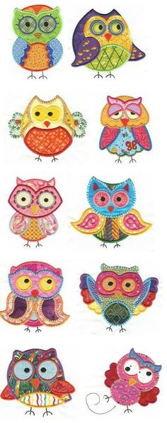 Designs by JuJu owls applique machine embroidery designs. Love those kooky guys! Owl Applique, Machine Embroidery Applique, Free Machine Embroidery Designs, Applique Patterns, Applique Quilts, Applique Designs, Hand Embroidery, Quilt Patterns, Dac Diy