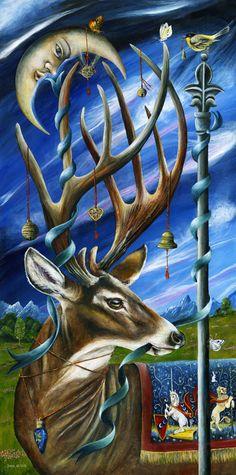 The Greenman, Cernunnos /Herne the Hunter... Calm After Storm... By Artist Janie Olsen...