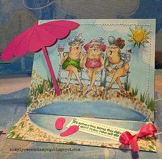 Art Impressions clear stamp set from Michael's (Hampton Art) SC0653 Ai Beach Babes. Girlfriends at the beach. Handmade card.