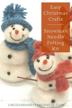 Christmas crafts don't get more festive than snowmen, and this easy DIY snowman needle felting kit is the perfect holiday craft. Beautifully packaged, in a lovely box, it makes a perfect Christmas craft gift for creative loved ones. Designed and made in Lincolnshire, UK since 2014. Worldwide shipping. #lincolnshirefenncrafts Needle Felting Kits, Needle Felting Tutorials, Wool Felting, Creative Christmas Gifts, Easy Christmas Crafts, Homemade Christmas Gifts, Diy Snowman, Snowmen, Diy Gifts On A Budget
