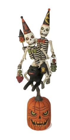 Skeletons Riding Black Cat - Halloween wood carving by Greg Guedel