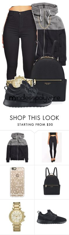 """Curiosity taking over me"" by mindlesspolyvore ❤ liked on Polyvore featuring H&M, Casetify, Henri Bendel, Michael Kors, NIKE and Reeds Jewelers"