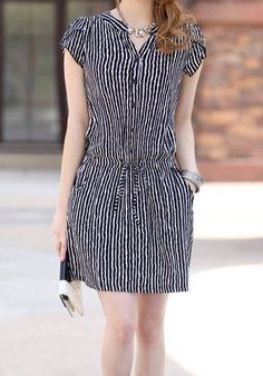 Vertical Stripe Casual V-Neck Single Breasted Short Sleeve Dress For Women Trendy Dresses, Simple Dresses, Cute Dresses, Casual Dresses, Fashion Dresses, Short Sleeve Dresses, Summer Dresses, Dresses With Sleeves, Dresses 2014