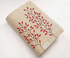 Obal na knihu - Kvitnúca tráva (natur 100% ľan) / Lesiavelin - SAShE.sk - Handmade Papiernictvo Lany, Mobiles, Floral Tie, Zip Around Wallet, Accessories, Mobile Phones, Jewelry Accessories