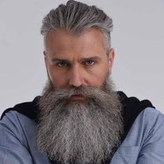42 Hairstyles for Men with Silver and Grey Hair - Men Hairstyles World Moustache, Beard No Mustache, Silver Hair Men, Grey Hair Men, Beard Styles For Men, Hair And Beard Styles, Hair Styles, Epic Beard, Sexy Beard