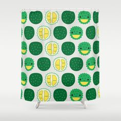Dotty Durians II - Singapore Tropical Fruits Series Shower Curtain by Littleoddforest | Society6 dots -  decor -  #home