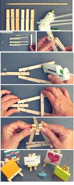 How to Make a Mini Easel With Wooden Clothes Pins: 3 Steps (with Pictures)