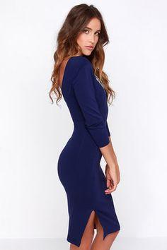 Navy blue midi bodycon dress