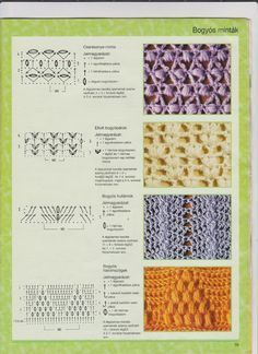 Horgolás csak magyarul.: MINTÁK RAJZZAL LEÍRÁSSAL Crochet Borders, Crochet Diagram, Crochet Stitches Patterns, Crochet Motif, Stitch Patterns, Knitting Patterns, Knit Crochet, Dyi Crafts, Yarn Crafts