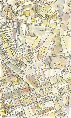 City map, creates a geometric pattern, forms interesting shapes and spaces Map Artwork, Map Design, Graphic Design, Design Graphique, Urban Planning, Plans, Illustrations, Surface Design, Map Collage
