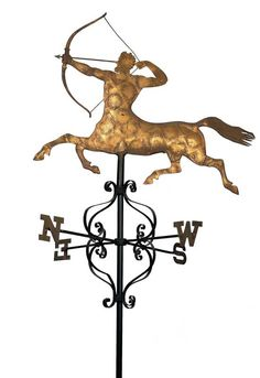 CENTAUR WEATHERVANE / probably A.L. Jewell & Company, Waltham, Massachusetts, 1852–1867, copper with gold leaf, with iron directionals, 50 1/2 x 43 x 29 in. (with directionals), American Folk Art Museum, gift of Ralph Esmerian, 2005.8.54, Photo © 2000 John Bigelow Taylor, New York