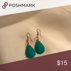 Turquoise tear drop earrings 18k gold plated metals•glass crystals•nickel and lead free! T&J Designs Jewelry Earrings