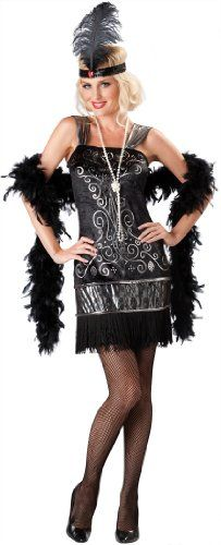In Character Costumes, LLC Women's Flirty Flapper Costume, Black, Large - Includes dress and headpiece - Women - Apparel - $34.72