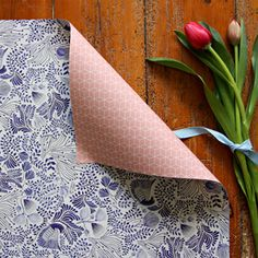 Bespoke Letterpress Double sided gift wrap - Blue Floral / Peach Cubes 3 Pack, $15.00