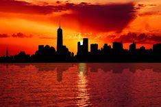skyline new york city sunset dusk Art Print by Etnousta - X-Small New York Pas Cher, New York Landscape, Sunset Art, City Sunset, Places In New York, Nyc Skyline, Free Pictures, Dusk, New York City
