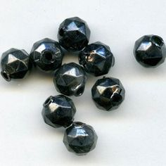 b11-bw-0983-Rare vintage hollow glass beads Occupied Japan 9x8mm  strand of 25