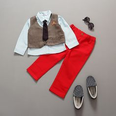 Check lastest price 2015 fashion clothing set Autumn kids clothes handsome boy dot shirt+vest+pant casual boys clothes just only $17.00 with free shipping worldwide  #boysclothing Plese click on picture to see our special price for you