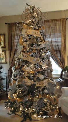 [ Christmas Tree Themes : Illustration Description Favorite Holiday Decor Inspiration from 11 Magnolia Lane Gold Christmas Decorations, Gold Christmas Tree, Christmas Tree Themes, Merry Little Christmas, Rustic Christmas, Beautiful Christmas, Christmas Mantles, Xmas Trees, Christmas Villages