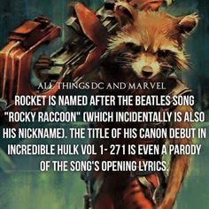 "It's funny because whenever I see him in my head I sing ""Rocket Raccoon"" Marvel Facts, Marvel Vs, Marvel Memes, Marvel Dc Comics, Comic Book Characters, Marvel Characters, Comic Character, Comic Books, Superhero Facts"