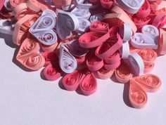 Hearts Pink White, Quilled Confetti, Handmade Paper Quilling Art, Home Decoration Idea, Table Decoration Ornaments, 150 pcs. Can be used as dinner table confetti decorations, scrapbook embellishments, ornamental additions to gifts, hanging decor, fridge magnet and many more! This listing is for 150 pieces (50 white, 50 light pink, 50 pink). Dimensions of one heart are 1/2 ″ x 1/2 ″ (2 cm x 1.5 cm). Made from 1/8 ″ (3 mm) paper strips of 90 g/m2 paper.