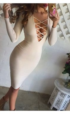 Ti Amo V-Neck Dress Nude - As Seen On...