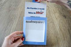 Invitation magique : Quand on pousse la carte le texte est en noir, quand on la tire, le texte est en couleur. #invitation #enfant #anniversaire #scrapbooking Crafts For Kids, Activities, Scrapbooking, Deco, Birthday Display, Make A Map, Crafts For Children, Kids Arts And Crafts, Deko