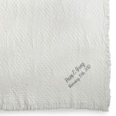 Embroidered White Heart Throw , Add a Monogram, Name or Initials