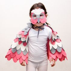 Pink parrot costume for young kids and toddlers. Galah mask and tail set. Fun for the dress up box!