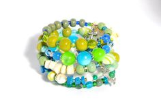Mermaid beaded wire wrap cuff bracelet by artistvisions on Etsy, $35.33