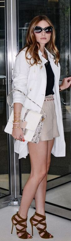 Shorts, jewelry and coat – Elizabeth and James, Necklace Lulu Frost, Purse – Devi Kroell Moon, Shirt – Tibi, Shoes – Jimmy Choo (2013)