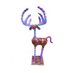 reindeer sculpture Collectibles with  floral patteten  design  metal base 100% handmade on Etsy, $150.00
