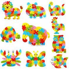 £2 Funny Wooden Blocks Animals Kid Children Educational Toy Alphabet Puzzle Jigsaw