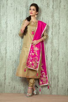 Gold appliqué work on Silk kurta and dupatta with silk churidar from #Benzer #Benzerworld #IndoWesternwearforwomen #IndianWear