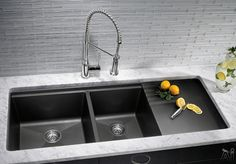 """Blanco 441292 48"""" Undermount Double Bowl Granite Sink with 9-1/2"""" Bowl Depths, 80% Granite, Scratch Resistant, Multi-Level Design and Drainer Board: Truffle"""
