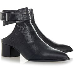 Senso Indy Croc Print Ebony Black Ankle Boot (585 RON) ❤ liked on Polyvore featuring shoes, boots, ankle booties, black, cutout booties, ankle boots, cut-out ankle boots, black boots and black cutout booties