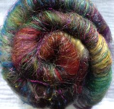 Witch's Apprentice spinning batt Textured baby alpaca by AlmaPark, $10.50