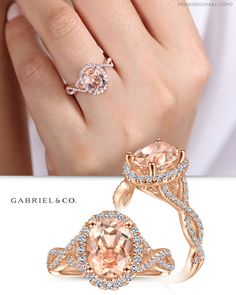 An elegant oval cut morganite center stone lends a romantic pinky peach hue to this mangificent engagement ring. Shimmering pavé diamonds form a breathtaking oval halo and embellish the shoulders of the twisted rose gold shank to glamorous effect. Engagement Rings Couple, Three Stone Engagement Rings, Perfect Engagement Ring, Beautiful Engagement Rings, Vintage Engagement Rings, Morganite Engagement, Halo Diamond Engagement Ring, Unique Diamond Rings, Jewelry Design