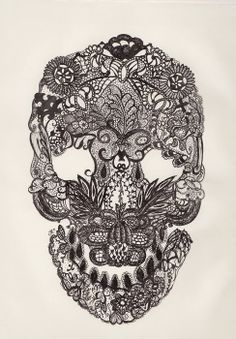 intricate lace skull
