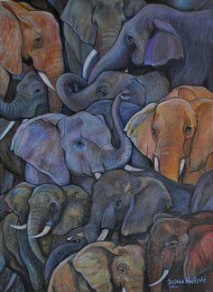 "Saatchi Art Artist Bojana Knezevic; Painting, ""Elephants"" #art"